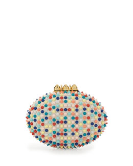Christian Louboutin Mina Spiked Box Clutch Bag, Multi