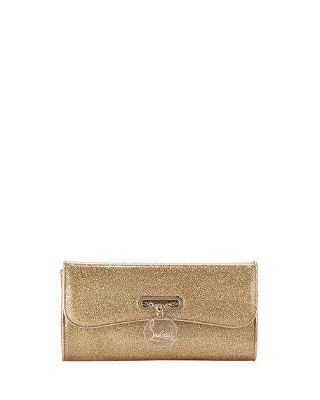 Riviera Glittered PVC Clutch Bag, Gold