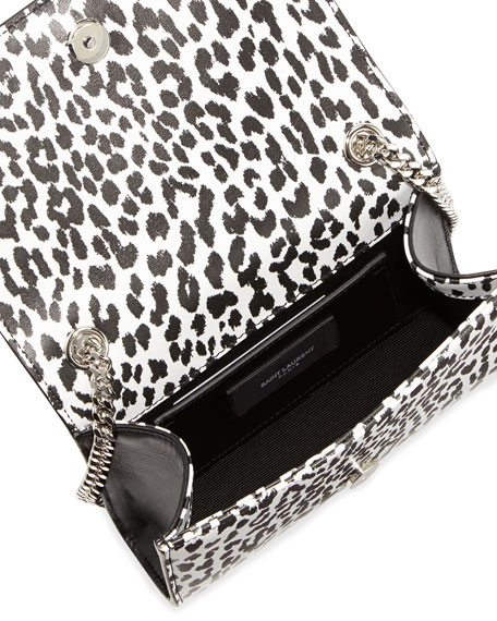 Cassandre Leopard-Print Crossbody Bag, Black/White