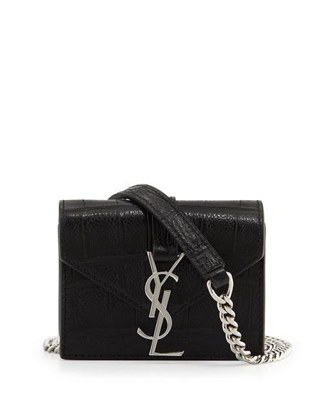 Cassandre Croc-Embossed Candy Crossbody Bag, Black