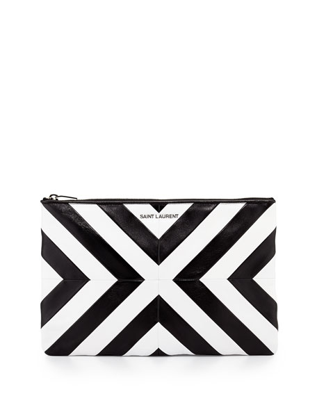 Letters Patchwork Zip Clutch Bag, Black/White