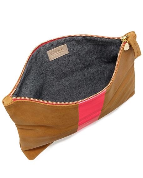 Single-Stripe Fold-Over Clutch Bag, Tan/Neon Pink
