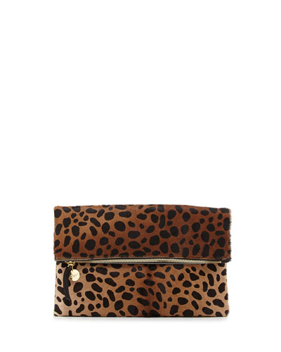 Leopard-Print Fold-Over Clutch Bag