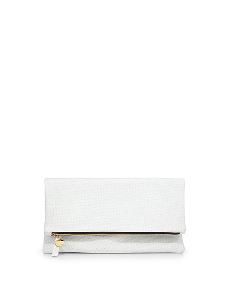 Perforated Leather Fold-Over Clutch, White