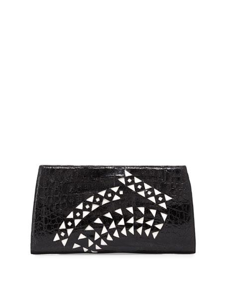 Razor Laser-cut Crocodile Clutch Bag, Black/White