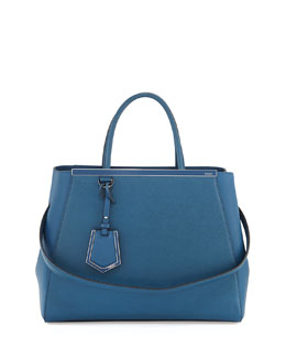 Fendi 2Jours Vitello Elite Medium Tote Bag, Blue