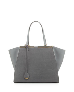 Fendi Trois-Jours Vitello Elite Tote Bag, Gray