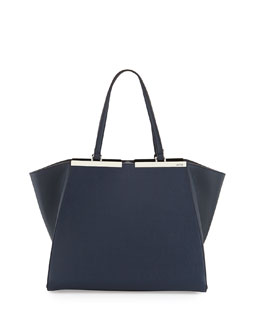 Fendi Trois-Jours Vitello Elite Tote Bag, Navy
