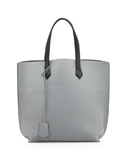 Fendi All In Medium Leather Tote Bag, Gray