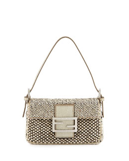 Fendi Baguette Metallic Beaded Mini Bag, Gray