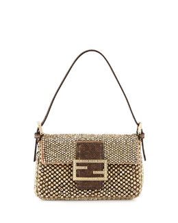 Fendi Baguette Metallic Beaded Mini Bag, Gold