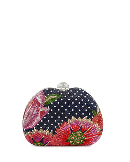Judith Leiber Curved Dot/Flower Crystal Clutch Bag, Blue