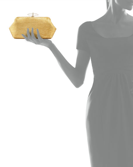 Whitman Metallic Python Clutch Bag, Gold