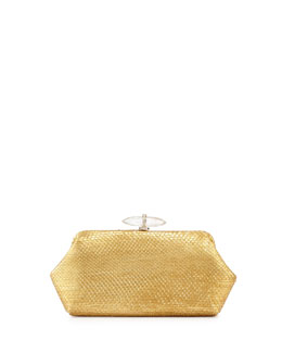 Judith Leiber Whitman Metallic Python Clutch Bag, Gold