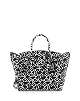 Ralph Lauren Soft Ricky 33 Medium Printed Satchel Bag, Black/White