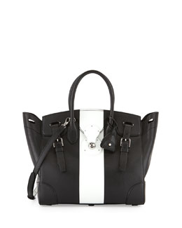 Ralph Lauren Soft Ricky 33 Stripe Satchel Bag, Black/White