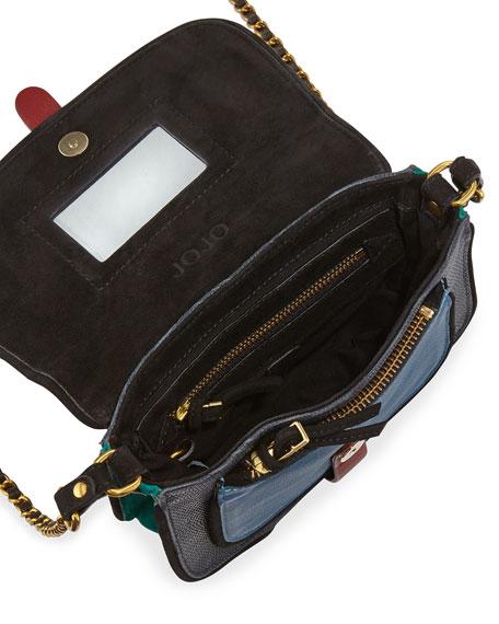 Jojo Mixed-Media Crossbody Bag, Blue Caviar