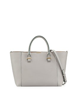 Victoria Beckham Quincy Small Tote Bag, Gray/Nude
