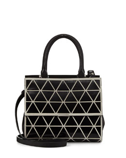 Victoria Beckham Mini Triangle Soft Tote Bag with Strap, Black