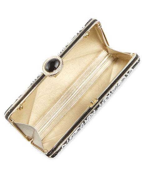 Ashoka Beaded Clutch Bag, Black/White