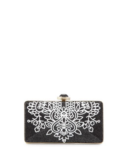 Judith Leiber Ashoka Beaded Clutch Bag, Black/White