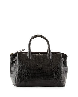 Medium Crocodile Tote Bag, Black