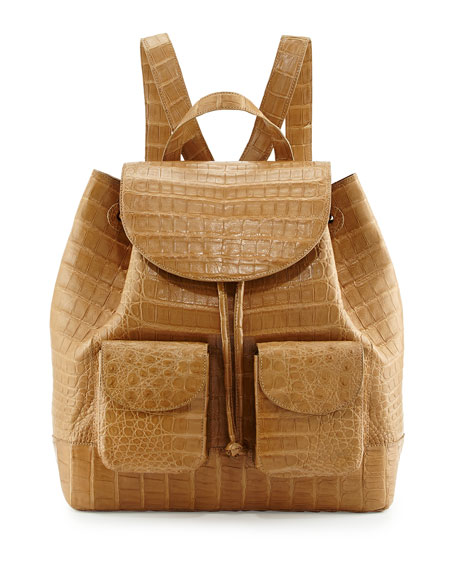 Large Two-Pocket Crocodile Backpack, Tan
