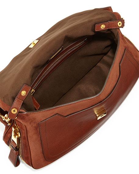 Jennifer Medium Suede/Leather Shoulder Bag, Brown