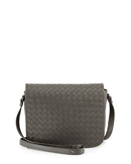 Bottega Veneta Small Woven Flap Crossbody Bag, Light Gray