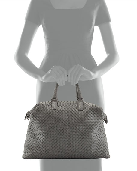 Woven Convertible Tote Bag, Light Gray