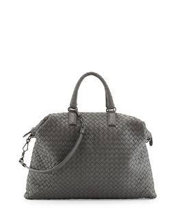 Bottega Veneta Woven Convertible Tote Bag, Light Gray