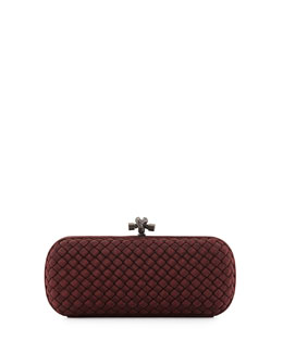 Bottega Veneta Faille Intrecciato Knot Clutch Bag, Burgundy
