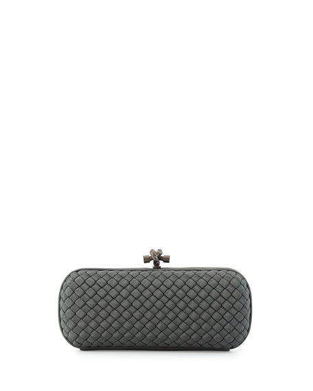 Bottega Veneta Faille Stretch Knot Minaudiere, Light Gray