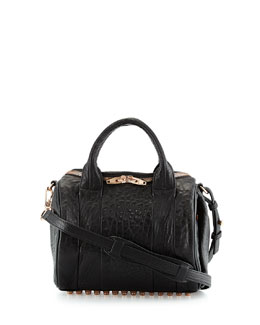 Alexander Wang Rockie Crossbody Satchel Bag, Black/Rose Golden
