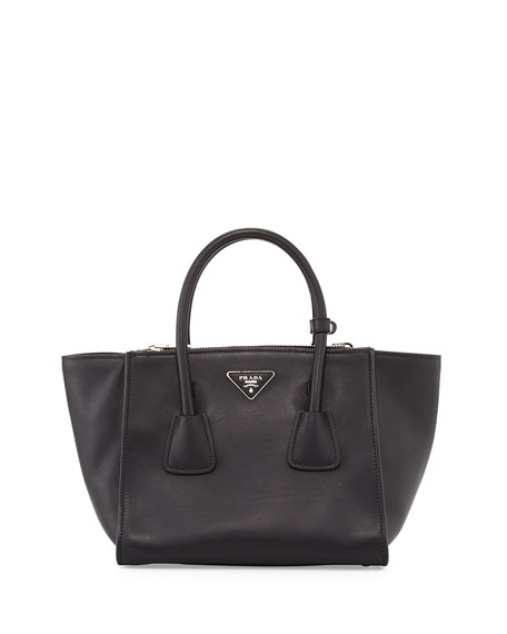 02201ded20e9 Prada City Calf Small Twin-Pocket Tote Bag, Black (Nero)