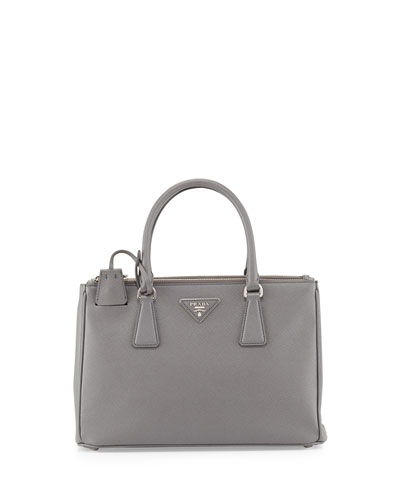 Saffiano Small Executive Tote Bag with Strap, Light Gray (Pomice)