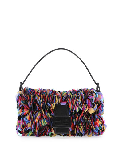 Sequin Paillettes Baguette Shoulder Bag, Black/Multi