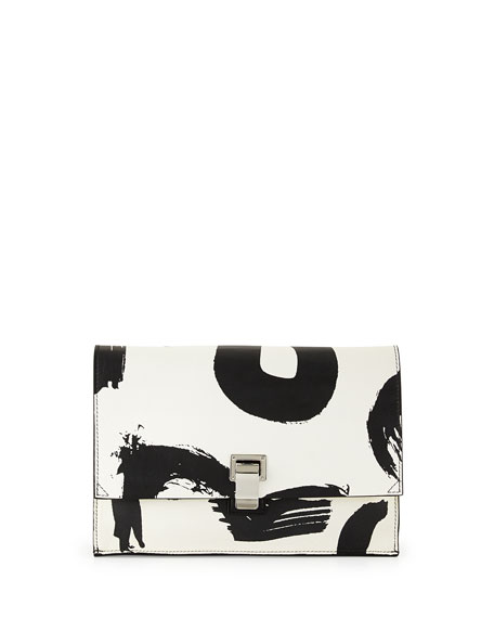 Small Printed Lunch Bag Clutch, Black/White