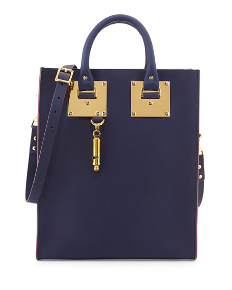 Mini Leather Tote Bag, Navy