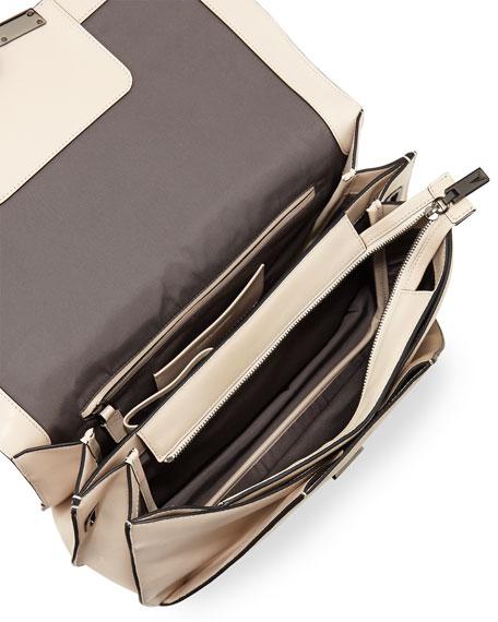 Helene Small Leather Shoulder Bag, Ivory