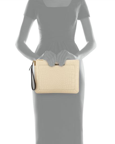 Ishi Large Embossed Wristlet Bag, Ecru