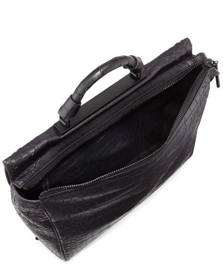 Ryder Croc-Embossed Satchel Bag, Black