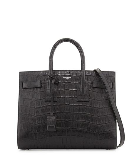 8e67967cc403 Saint Laurent Sac de Jour Small Croc-Embossed Leather Tote Bag