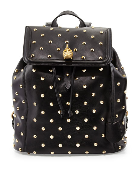 Studded Skull-Padlock Backpack, Black