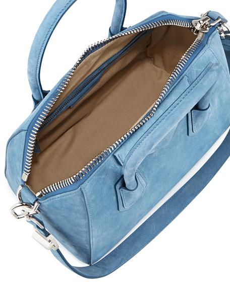 Antigona Small Nubuck Satchel Bag, Blue