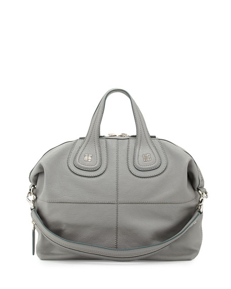 Nightingale Medium Kidskin Satchel Bag, Gray