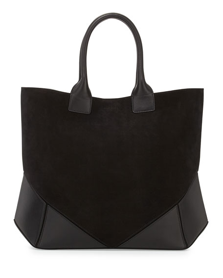 Suede Combo Stitched Easy Tote Bag, Black