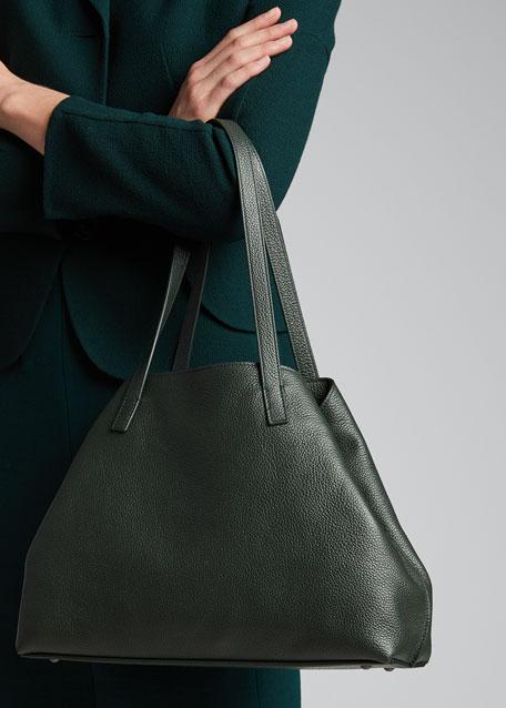 Ai Small Leather Shoulder Tote Bag, Black