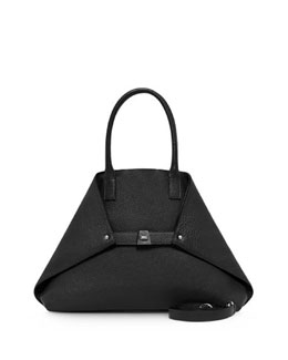 Akris Ai Small Top-Handle Tote Bag, Black