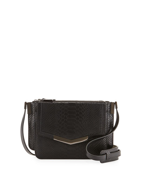 Trilogy Mini Snake-Embossed Crossbody Bag, Black
